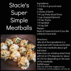 Easy Meatballs--perfect for meal preps!  Pair it with veggies and a half a sweet potato or butternut squash for a perfectly well-balanced lower carb and paleo friendly meal.  www.facebook.com/staciesdietitianmission