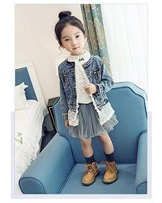 2bd1c9299 Artfasion Kids/Girls Jean Jacket Toddler Spring Denim Jacket Lace Outwear  Cowboy Overcoat(7-8Y)