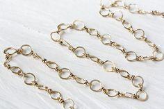 Handmade Hammered Brass Links Chain, wire wrapped nu gold brass links, solid brass chain necklace - unisex handcrafted yellow brass chain
