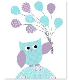 Aqua and Purple Owl Nursery Art Girl's Room by SweetPeaNurseryArt