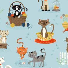 Makower Crafty Cats TP 1723 1 Cat Scenic $10.30/yd