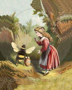 Vintage girl & bee postcard