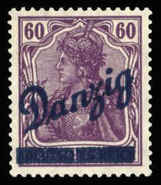 "Danzig 1920 Grosse Innendienst 60pf violet, plate flaw broken bar at bottom, also through ""a n"" (pos.43), n.h., v.f., signed Richter, with 2013 Soecknick certificate (Mi.47 I) (Catalog value €4,000)  Dealer Cherrystone Auction  Auction Estimate price: 700.00 US$"