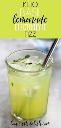 This basil lemonade electrolyte fizz recipe will add some fun and flavor to the electrolytes needed when eating keto. All for zero carbs and calories too! Keto Diet Drinks, Low Carb Drinks, Keto Drink, Keto Snacks, Healthy Drinks, Healthy Detox, Healthy Summer, Yummy Drinks, Keto Electrolyte Drink