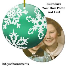 Add a personal touch to your Christmas tree with this ornament that features a shiny green globe covered with white snowflakes on one side and the photo of your choice on the other side along with customizable text that you can change to commemorate the occasion. https://www.zazzle.com/green_ball_with_white_snowflakes_photo_and_text_ceramic_ornament-175416381420615760?rf=238083504576446517&tc=20170307_pint_NI #seasonal #personalized #holiday #memento #StudioDalio #Zazzle