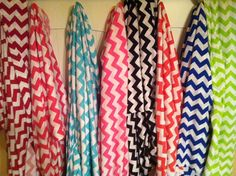 Infinity Scarves in Chevron Stripes by AWomansWishList, 8 colors in stock now!  red, black, royal blue, lime, coral, watermelon pink, perfectly pink, tiffany blue