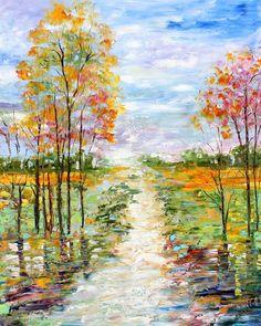 Original oil painting AutumnTwilight Landscape Palette knife modern impressionism impasto fine art by Karen Tarlton. $345.00, via Etsy.