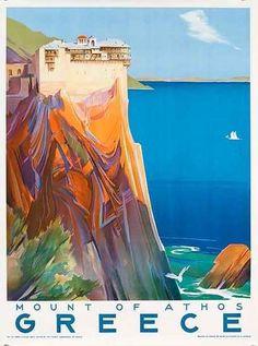 9 x 12 Vintage Travel Poster Art Print Greece - Mount of Athos - The Holy Mountain by Corny Retro Poster, A4 Poster, Poster Prints, Retro Ads, Poster Wall, Illustrations Vintage, Illustrations Posters, Photo Vintage, Vintage Art