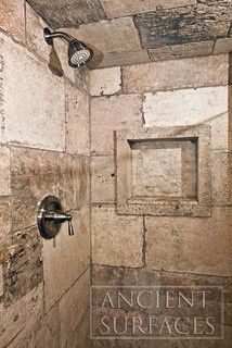 Bathrooms Ancient Limestone Shower Walls and Floors - mediterranean - bathroom tile - los angeles - by Ancient Surfaces