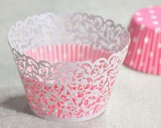 White laser cut filigree cupcake wrapper by TeenayAndCo on Etsy Paper Doily Crafts, Doilies Crafts, Paper Doilies, Cupcake Packaging, Cupcake Wrappers, Cupcake Cookies, Cupcake Liners, 1st Birthday Cake Topper, Wedding Cups