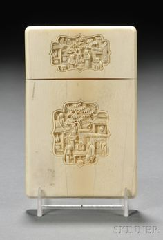 Ivory Card Case, China, figural cartouches, lg. 4 3/8 in.