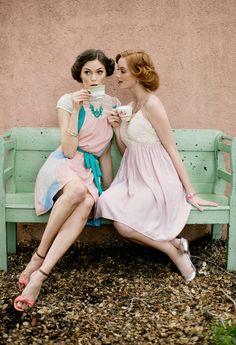 pastel, vintage tea time