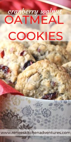 Cranberry Walnut Oatmeal Cookies by Renee's Kitchen Adventures. Traditional oatmeal cookies made special with the addition of dried cranberries and walnuts. It's the oatmeal cookie recipe you've been looking for. No raisins in this oatmeal cookie. #RKArecipe #oatmealcookierecipe #christmascookierecipe Best Homemade Cookie Recipe, Favorite Cookie Recipe, Delicious Cookie Recipes, Best Cookie Recipes, Homemade Cookies, Best Dessert Recipes, Sweets Recipes, Fun Desserts, Fall Recipes