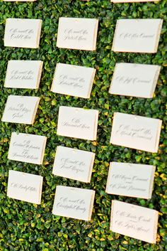 place cards pinned to wall of boxwood