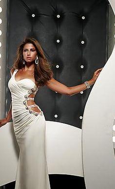 Sexy Satin Strapless White Natural Sleeveless Evening Dress kaladress10242