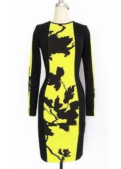 Fashion O Neck Long Sleeve Pleater Yellow Mini Dress