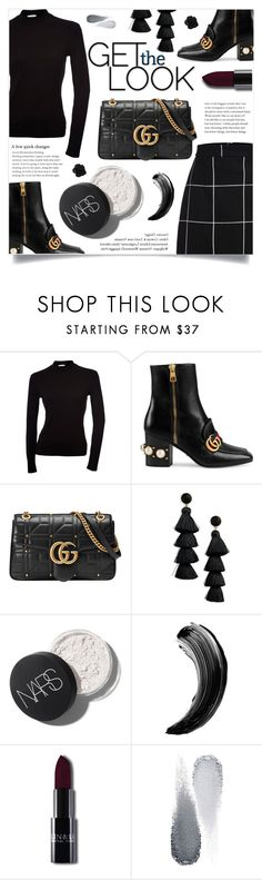 """Get the Black"" by ifip ❤ liked on Polyvore featuring Gucci, BaubleBar and Clé de Peau Beauté"