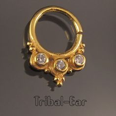 Septum Nose Ring Gold Plated Zircon Piercing Nez Non Fake Jewelry Tribal Ear 034