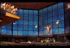 The Protestant Kaiser Wilhelm Memorial Church designed by Egon Eiermann