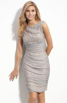 Sheath/Column Scoop Neck Knee-Length Ruffle Chiffon Satin Zipper Up Regular Straps Sleeveless No Silver General Mother of the Bride Dress
