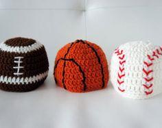 Sports Hats, Baseball, Basketball, Football, Crochet Sports Hats, Crochet Baby Hat, Baby Hat, photo prop