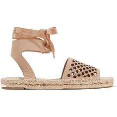Paloma Barceló - Gabrielle Embellished Laser-cut Leather Espadrille...  (£150 · Leather EspadrillesLeather WedgesLeather SandalsStudded ...