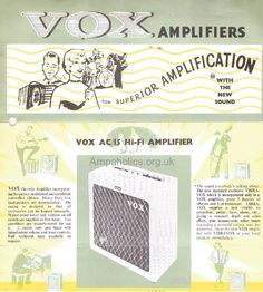 VOX AC2 ,VOX AC4 ,VOX AC10, VOX AC10 Twin ,VOX AC15, VOX AC15 twin,VOX AC30 ,VOX AC30 Supertwin and Vox Echo Reverb.