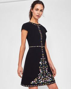 Hampton Court embroidered shift dress - Black | Dresses | Ted Baker NEU