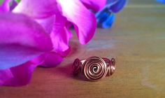 Copper Ring Wire wrapped ring swirl ring by TheSpunkyCrafter