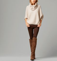 autumn clothes outfits womens fashion style apparel clothing closet ideas brown boots long trousers white top pullover