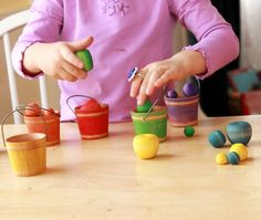 Wood Apples and Buckets for sorting, learning, and playing. Love these!