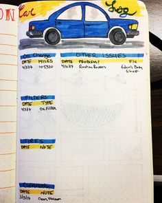 Cute car maintenance log for a bullet journal