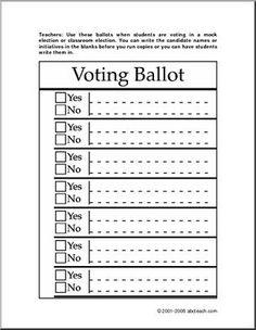 free printable ballots for kids classroom voting ballot