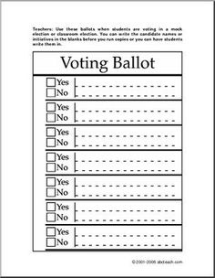 Free Printable Ballots for Kids - Classroom Voting Ballot ...