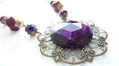 Victorian Necklace Violet Deep Purple Vintage by Dewdropsdreams, $26.00 https://www.etsy.com/listing/151307447/victorian-necklace-violet-deep-purple