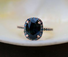 Blue Green sapphire engagement ring. Peacock sapphire 2.75ct