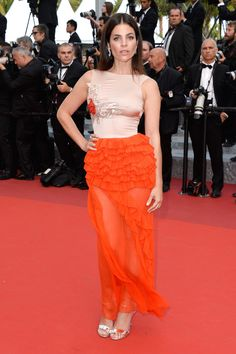 Julia Restoin Roitfeld chose a sheer Dior number and Chopard jewels for The Unknown Girl's premiere.