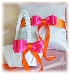 RESERVED FOR amberabbott4  Orange Hot Pink Wedding by All4Brides, $154.00