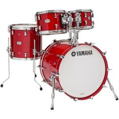 """Yamaha Absolute Hybrid Maple 4-Piece Shell Pack with 20"""" Bass Drum Red"""