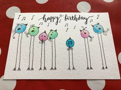 Cute little bird card - Geburtstagskarte Diy Homemade Birthday Cards, Kids Birthday Cards, Funny Birthday Cards, Homemade Cards, Birthday Gifts, Watercolor Birthday Cards, Watercolor Cards, Watercolor Artwork, Watercolour