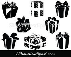 Christmas Gift Box Silhouette Clip Art Pack - Silhouette Clip Art