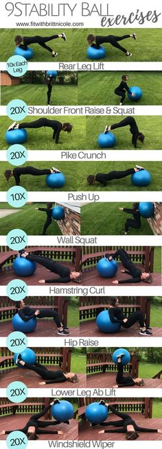 Try these 9 stability ball exercises for a fat burning and muscle toning 30 minute full body workout!