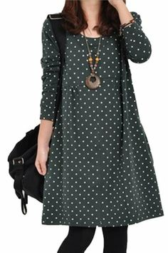 Autumn Ladies Dot Dress Long Sleeve Loose Splicing Blouse