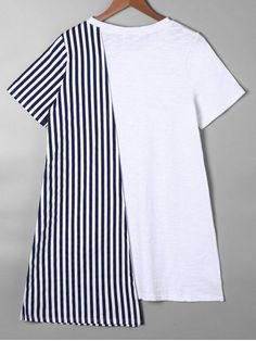 Striped Asymmetrical Mini Tee Dress - BLUE M