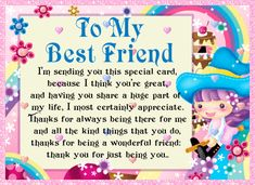 Free online My Best Friend I Appreciate You ecards on Friendship Cute Friendship Quotes, Bff Quotes, Funny Quotes, Friends Day, Cards For Friends, Best Friends, Special Friend Quotes, Best Friend Quotes, Just Be You