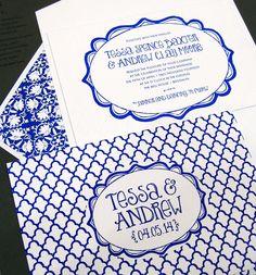 Royal Blue Patterned Letterpress Wedding Invitations by Smock