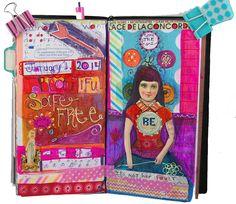 Midori Traveler's Notebook art journal page.