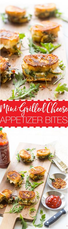 These Mini Grilled Cheese Sandwich Appetizers made with aged cheddar, sundried tomatoes, mushrooms and arugula are perfect for easy summer entertaining!