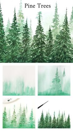 New Pine Tree Drawing Sketch Watercolor Painting 31 Ideas Watercolor Trees, Watercolor Landscape, Landscape Art, Landscape Paintings, Watercolor Paintings, Artwork Paintings, Watercolor Artists, Gouache Painting, Watercolor Portraits