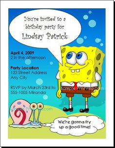 Download This Spongebob Party Invitation Httpbirthday - Birthday invitation spongebob background